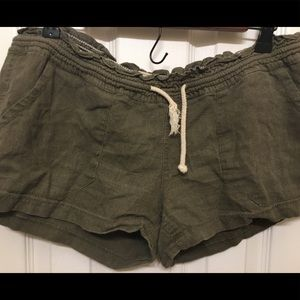 Army green tie shorts